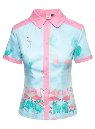 BANNED Camisa Pin Up Flamenco Flores Rosa Turquesa