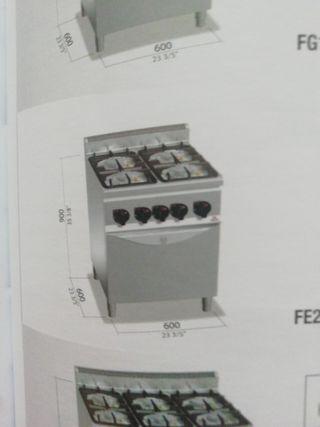 cocina 4 fuegos gas mas horno eléctrico