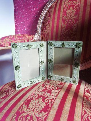 Marco fotos 15x10cm doble terciopelo tela verde