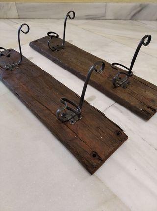 Percheros antiguo madera maciza y perchas de forja