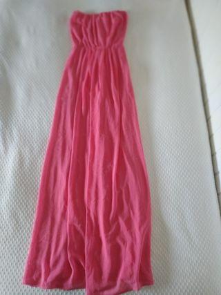 Vestido largo rosa de palabra de honor