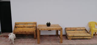 conjunto jardín madera