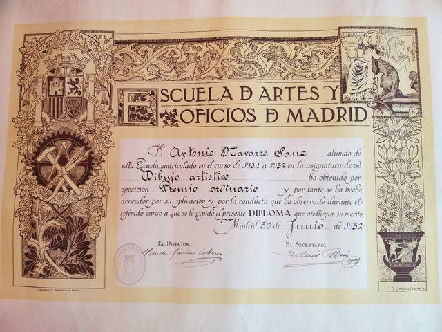 Dibujo académico antiguo de 1932-33 firmado-datado