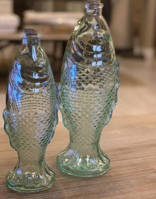 Botellas de cristal diseño pez