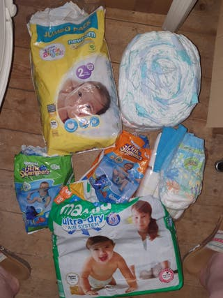 large bundle of nappies