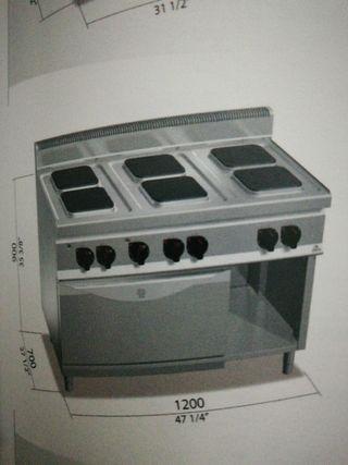 cocina 6 fuegos mas horno eléctrica bertos
