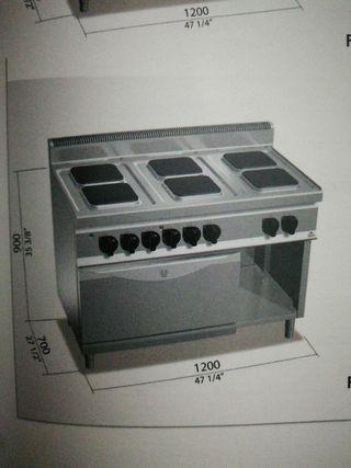 cocina de 6 fuegos mas horno eléctrica