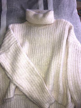 Jersey blanco mujer cuello alto