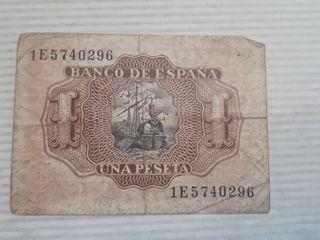 Billete de una peseta, año 1953