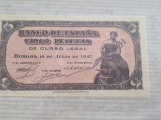 Billete de Cinco pesetas, de 1937