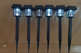 lote 6 lámparas solares 33 cm lleva pila recargabl