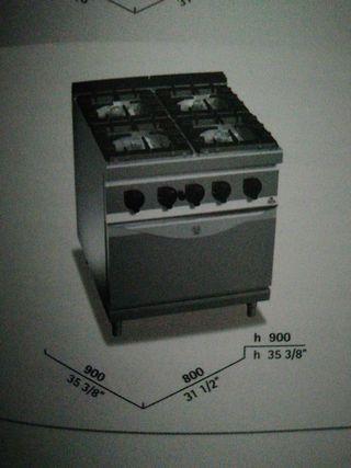 cocina 4 fuegos gas y horno eléctrico fondo 900