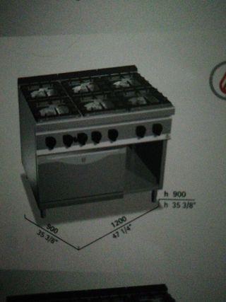 horno 6 fuegos gas mas horno eléctrico