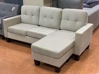 Sofá chaise-longue reversible de tela *185cm