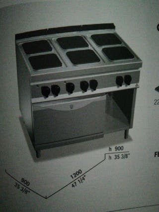 cocina 6 fuegos mas horno eléctrica fondo 900