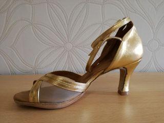 zapato baile mujer, piel color dorado, talla 36