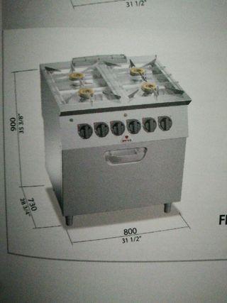 cocina 4 fuegos gas fondo de agua y horno eléctric