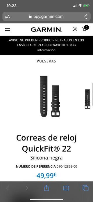 Correa Relojes garmin Fenix, Forerunner, Quantix,