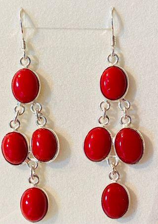 Pendientes largos de coral rojo y plata de ley