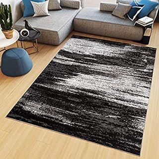 Tapiso Maya Alfombra de Sal/ón Sala Comedor Dise/ño Moderno Gris Negro Blanco Geom/étrico C/írculos Delgada 80 x 150 cm