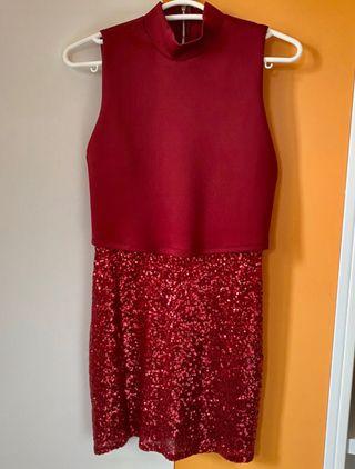 Vestido combinado de lentejuelas rojo