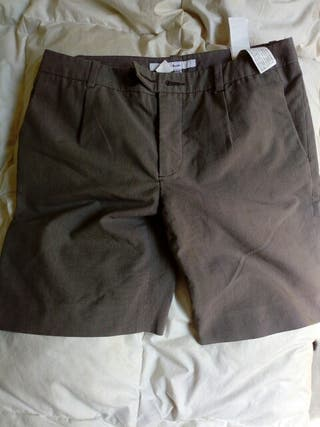 pantalón corto formal gris