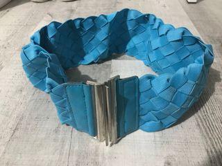 Cinturón elástico azul mujer
