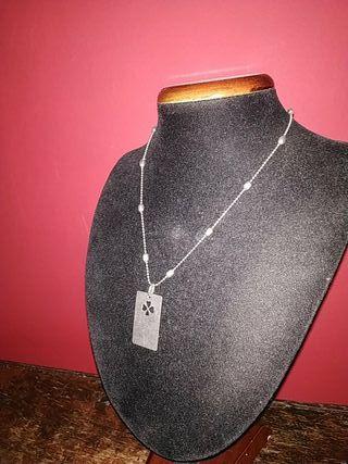cadena de plata maciza y chapa de plata