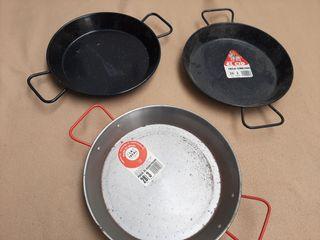 pack 3 paellera estrenar acero 26 y 28 diámetros