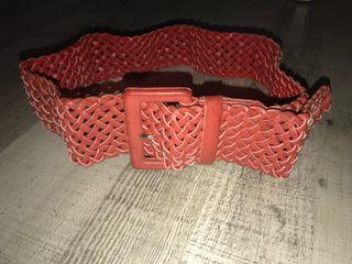 Cinturón trenzado mujer rojo