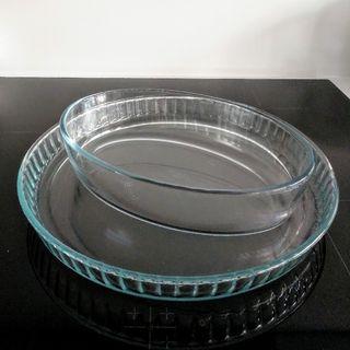 2 fuentes Pyrex de cristal
