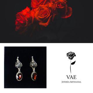 Rosas y cristal pendientes Vae