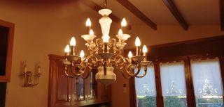 lampara de laton y ceramica