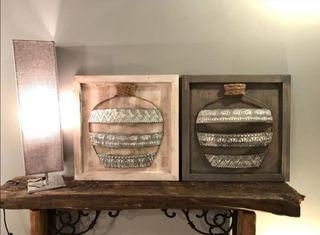 2 Cuadros madera y metal