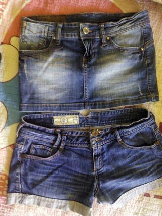 conjunto de falda y pantalón vaquero para niña