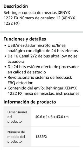 Mesa de mezcla Behringer Xenyx 1222fx
