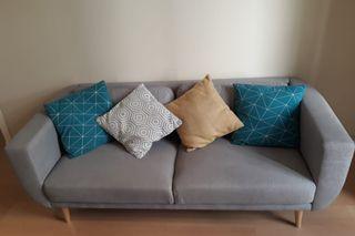 Sofa 3 plazas tela gris (190cm) Maisons du Monde