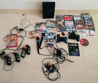 PS2 + de 25 juegos + micrófonos + EXTRAS