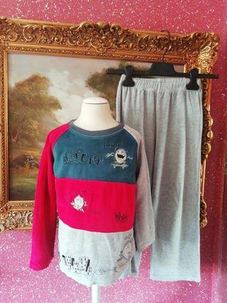 Pijama talla 6 años niño gris azul rojo