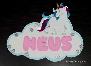 Cartel con nombre - unicornio