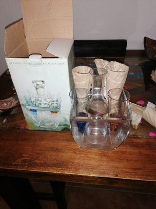 set 4 vasos chupito +botella 12 ×12 ×24