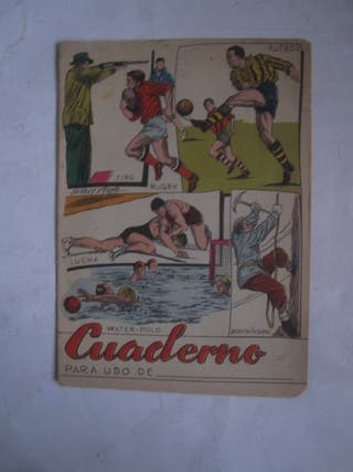 cuaderno deportes antiguo fútbol lucha rugby water