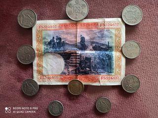 se vende lote monedas y billete de 100 pesetas