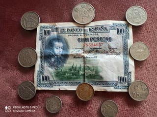 billete de 100pesetas y monedas