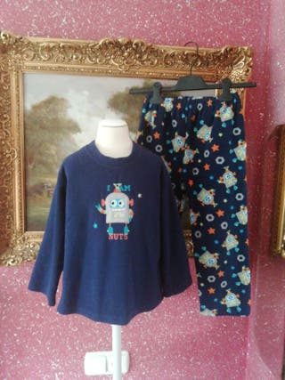 Pijama talla 5 años niño robot azul marino peluche