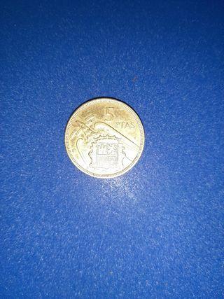 moneda 5 pesetas 1957 bañada oro