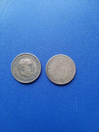 2 monedas 2.5 pesetas 1953