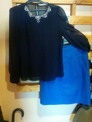 blusa mas falda de talle alto de zara