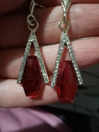 pendientes cristal rojos