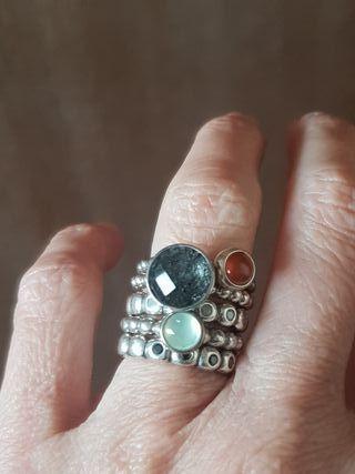 5 anillos Pandora plata de ley